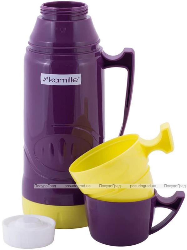 Термос Kamille Glass Violet 1800мл дзеркальна колба і 2 чашки
