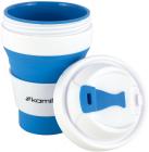 Спортивная складная бутылка Kamille для воды 350мл, силикон, синий