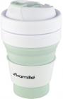 Спортивная складная бутылка Kamille для воды 350мл, силикон, зеленый