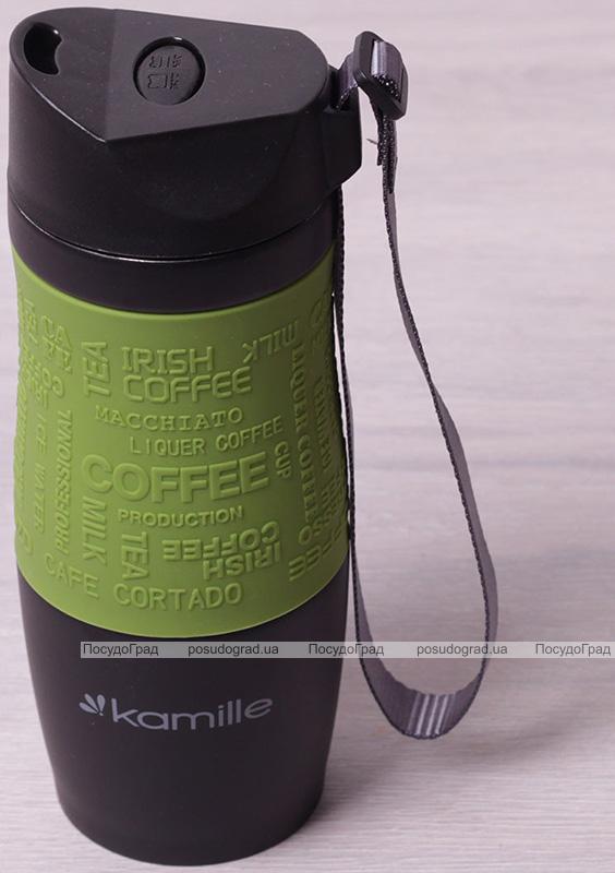 Термокружка Kamille Coffee 380мл с ремешком, нержавеющая сталь