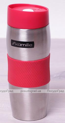 Термокружка Kamille Elegance 380мл з TPR-вставкою