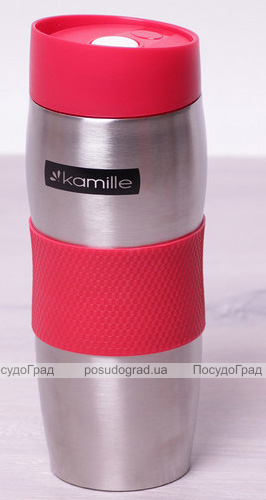 Термокружка Kamille Elegance 380мл с TPR-вставкой