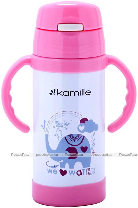 """Термос детский Kamille """"Зоопарк"""" 350мл с двумя ручками"""