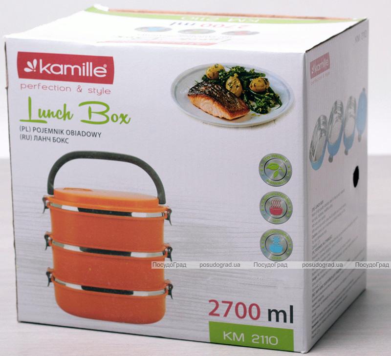 Ланч-бокс Kamille Priori 3 емкости по 900мл (2700мл), 20х14.5х18.5см