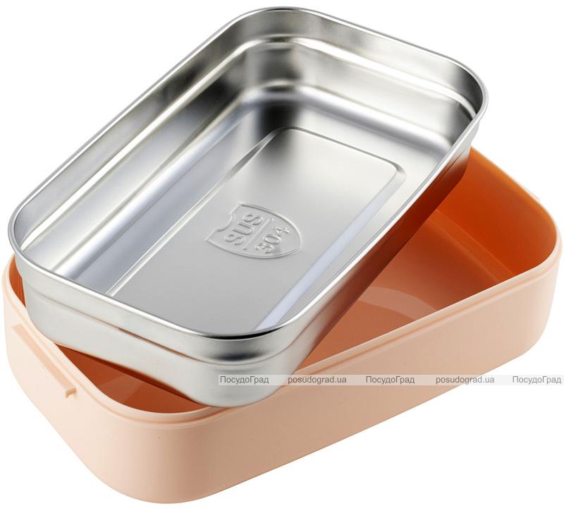 Ланч-бокс Kamille Snack 700мл, пластик и нержавеющая сталь, розовый