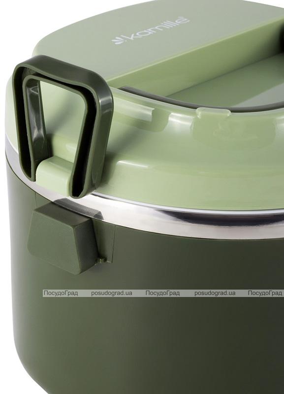 Ланч-бокс Kamille Snack 1000мл, пластик і нержавіюча сталь,зелений