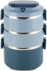 Ланч-бокс Kamille Snack 2400мл трирівневий, пластик і нержавіюча сталь, синій