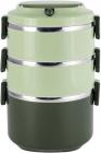 Ланч-бокс Kamille Snack 2400мл трирівневий, пластик і нержавіюча сталь, зелений