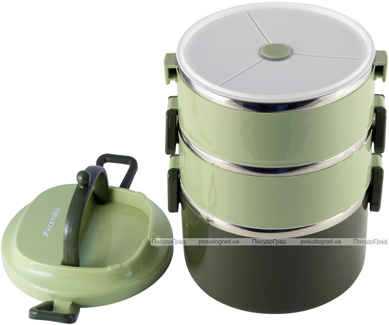 Ланч-бокс Kamille Snack 2400мл трехуровневый, пластик и нержавеющая сталь, зеленый
