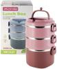 Ланч-бокс Kamille Snack 2400мл трирівневий, пластик і нержавіюча сталь, рожевий
