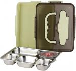 Ланч-бокс Kamille Snack 1000мл на 5 секцій, пластик і нержавіюча сталь, зелений