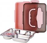 Ланч-бокс Kamille Snack 1000мл на 5 секцій, пластик і нержавіюча сталь, рожевий