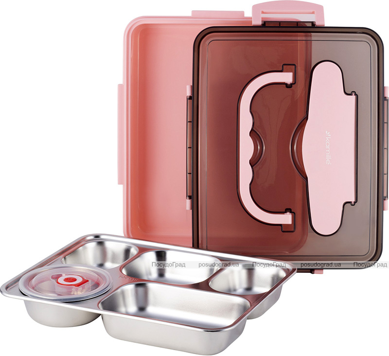Ланч-бокс Kamille Snack 1000мл на 5 секций, пластик и нержавеющая сталь, розовый