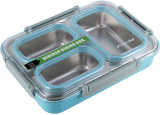 Ланч-бокс Kamille Snack 1200мл на 3 секції, пластик і нержавіюча сталь, блакитний
