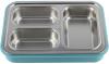 Ланч-бокс Kamille Snack 1200мл на 3 секции, пластик и нержавеющая сталь, голубой