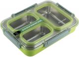 Ланч-бокс Kamille Snack 1200мл на 3 секції, пластик і нержавіюча сталь, зелений
