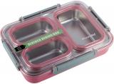 Ланч-бокс Kamille Snack 1200мл на 3 секції, пластик і нержавіюча сталь, рожевий