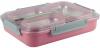 Ланч-бокс Kamille Snack 1200мл на 3 секции, пластик и нержавеющая сталь, розовый