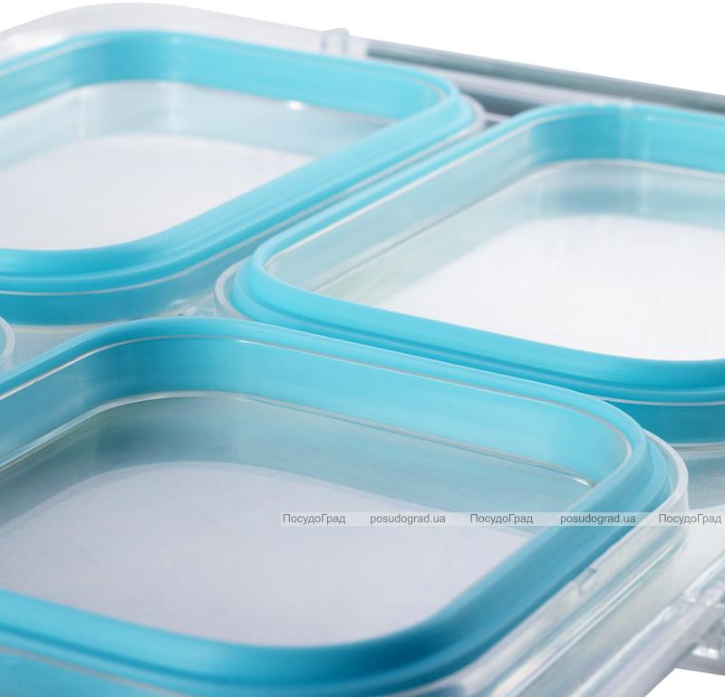 Ланч-бокс Kamille Snack 1800мл на 4 секції, пластик і нержавіюча сталь, блакитний