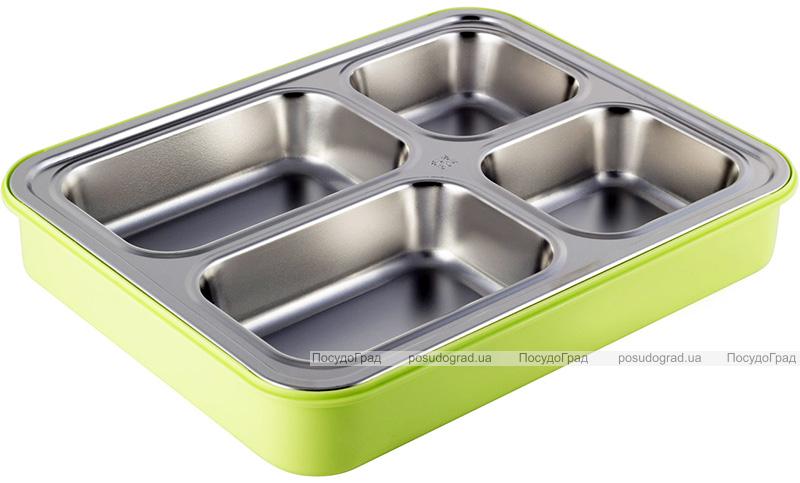 Ланч-бокс Kamille Snack 1800мл на 4 секції, пластик і нержавіюча сталь, зелений