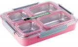 Ланч-бокс Kamille Snack 1800мл на 4 секції, пластик і нержавіюча сталь, рожевий