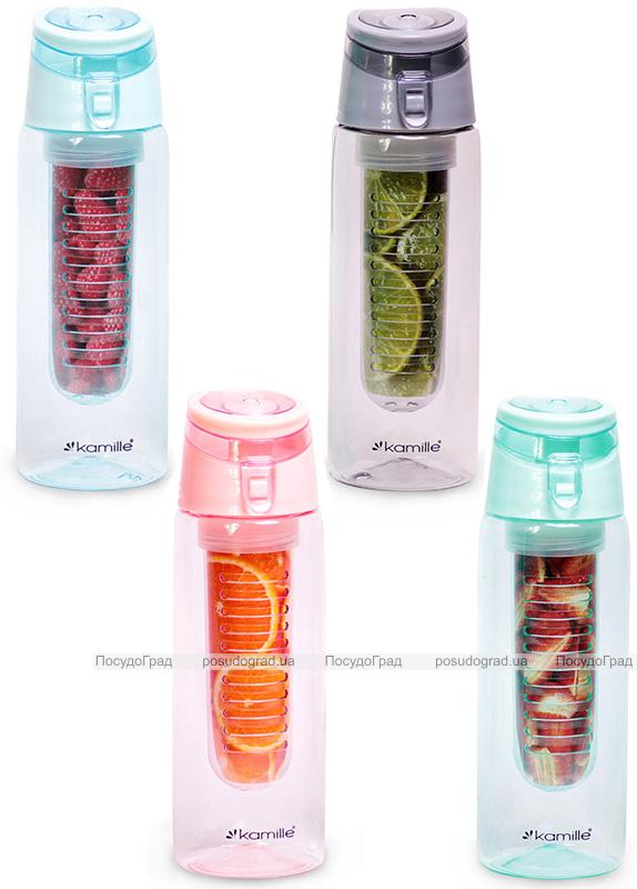 Пляшка для води Kamille Fruit 660мл пластикова з відсіком для фруктів
