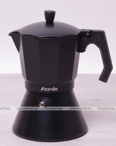 Кофеварка гейзерная Kamille Black 450мл с широким индукционным дном