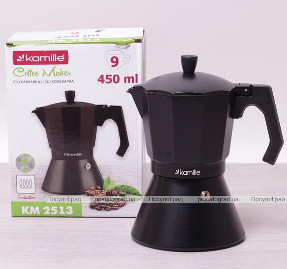 Кофеварка гейзерная Kamille Black 450мл