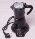 Кофеварка гейзерная Kamille Black 300мл (6 порций), электрическая