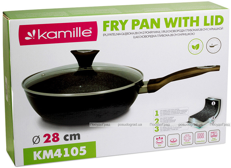 Сковорода-сотейник Kamille Sillamae Ø28см со стеклянной крышкой