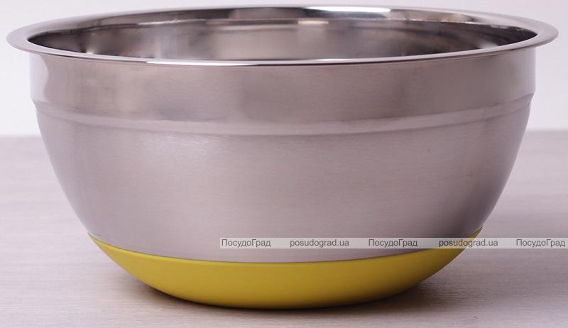 Миска стальная Kamille Labro Ø22х10см с силиконовым дном (желтая)