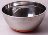 Миска стальная Kamille Labro Ø24х11см c силиконовым дном (оранжевая)