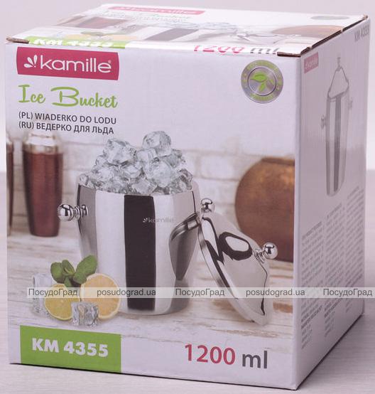 Ведро для льда Kamille 1200мл из нержавеющей стали с двойными стенками и крышкой