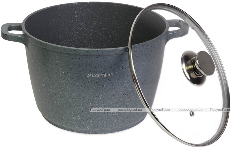 Кастрюля Kamille Landes Grey 10л с литыми алюминиевыми ручками