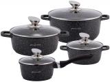 Набір кухонної посуду Kamille Landes Black 8 предметів + дві прихватки