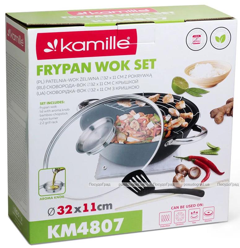 Казан Wok Kamille Camping 5.6л чавунний з аромакришкою, антипригарне покриття