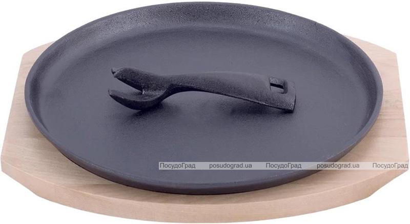 Сковорода чугунная Kamille Brighton Ø25см со съемной ручкой на деревянной подставке