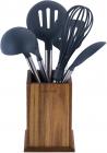Набор кухонных принадлежностей Kamille Oryen Brown 6 аксессуаров на деревянной подставке