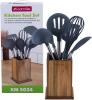 Набір кухонного приладдя Kamille Oryen Brown 6 аксесуарів на дерев'яній підставці