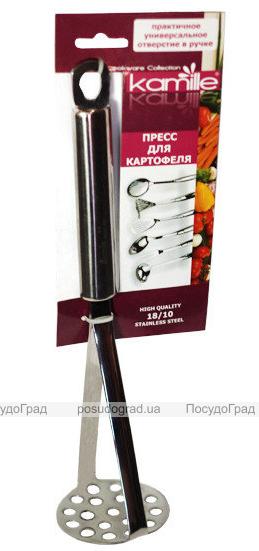 Пресс для картофеля Kamille Crystal 28см из нержавеющей стали с полой ручкой