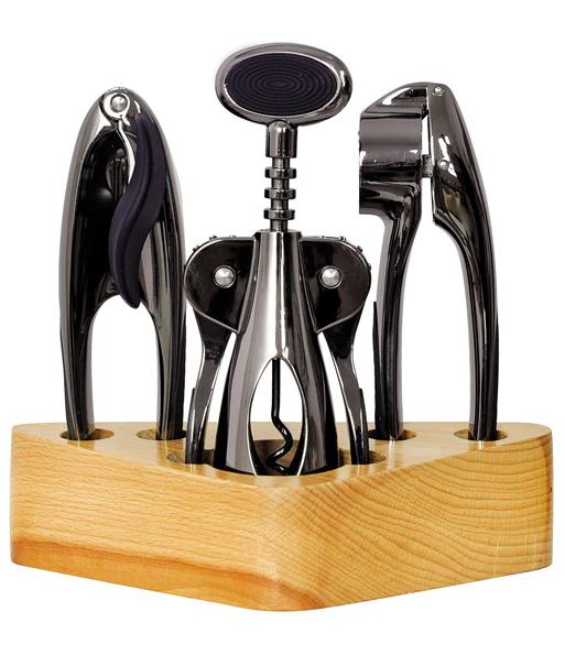 Набор аксессуаров Kamille 4 предмета. Барсет на деревянной подставке