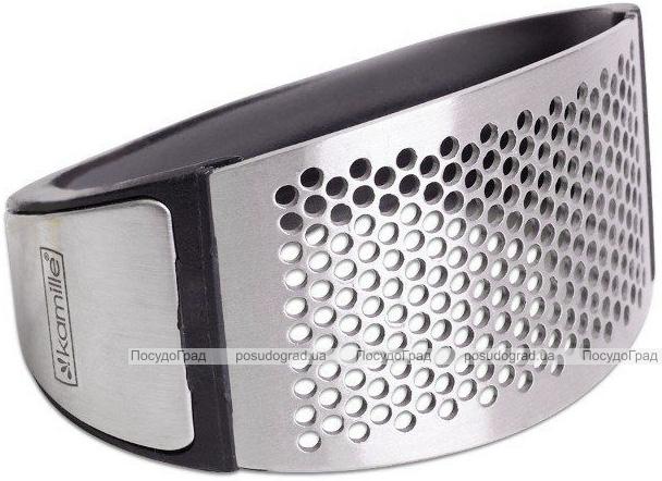Пресс для чеснока Kamille 10.7х5.1х6.9см из нержавеющей стали с пластиковой ручкой