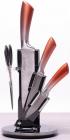 Набор кухонных ножей Kamille Copper Gradient 4 предмета на веерной подставке