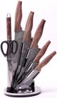 Набір кухонних ножів Kamille Oryen-49 7 предметів на віїрній підставці