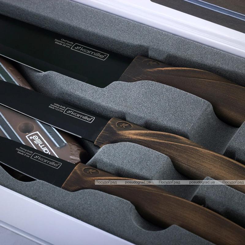 Набор 3 кухонных ножа Kamille Oryen Brown на магнитной планке