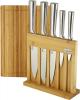Набор 5 кухонных ножей Kamille Steel на бамбуковой подставке и разделочная доска