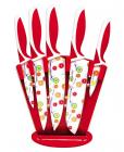 Набор ножей Kamille Steel 5 кухонных ножей с антипригарным покрытием на акриловой подставке