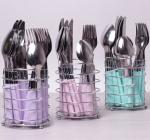 Набор столовых приборов Kamille Elegance Set 24 предмета и подставка стальная