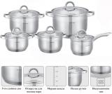 Набір посуду Kamille Glass Strip 4 каструлі 2.1л, 2.9л, 3.9л, 6.5л і ківш 2.1л