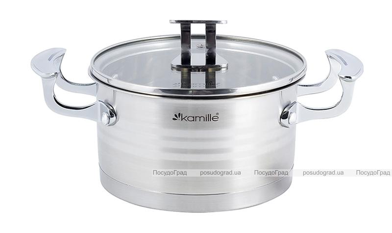 Кастрюля индукционная Kamille Casserote 1.5л из нержавеющей стали со стеклянной крышкой